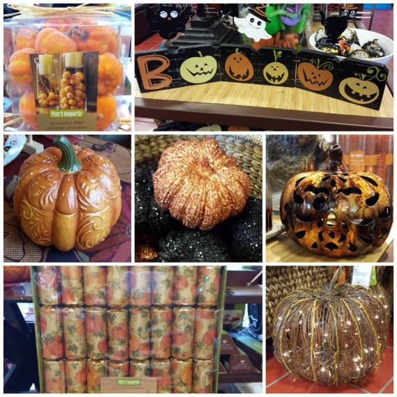 i chose some table confetti decorative pumpkin fillers and glass stones to create some glass containers to take my halloween decorations to the next level - Pier One Halloween