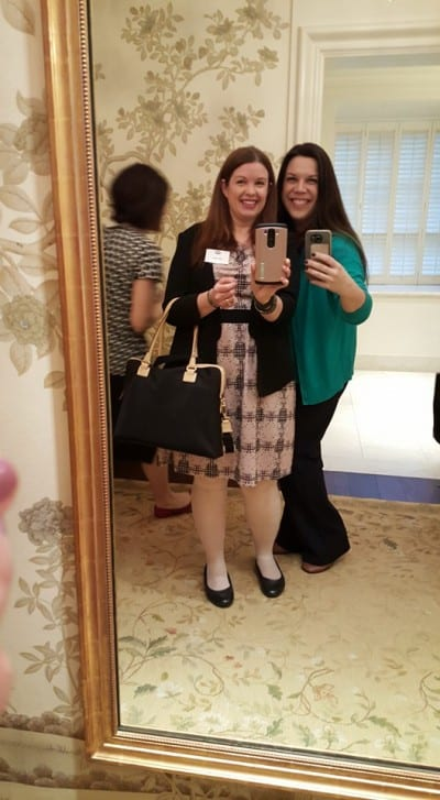 White House bathroom selfie with Amy Oztan from Selfish Mom