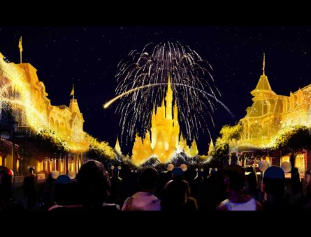 """A new nighttime spectacular, """"Disney Enchantment,"""" will debut Oct. 1, 2021, at Magic Kingdom Park in Lake Buena Vista, Fla. Created to launch with the """"World's Most Magical Celebration"""" the show will take guests on a journey filled with adventure, wonder and empowerment, inspiring guests to believe in magic. """"Disney Enchantment"""" will feature music, enhanced lighting, stunning fireworks and, for the first time, immersive projection effects that extend from Cinderella Castle down Main Street, U.S.A. (Disney)"""